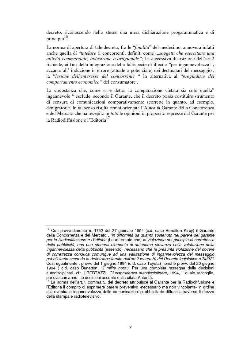Anteprima della tesi: La pubblicità comparativa fra orientamento dell'autorità garante e legislazione comunitaria, Pagina 6