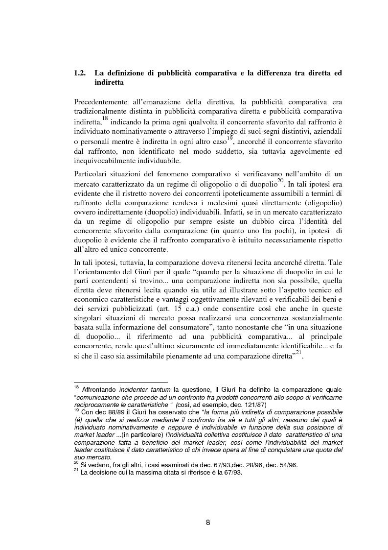 Anteprima della tesi: La pubblicità comparativa fra orientamento dell'autorità garante e legislazione comunitaria, Pagina 7