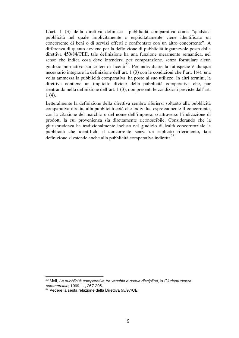 Anteprima della tesi: La pubblicità comparativa fra orientamento dell'autorità garante e legislazione comunitaria, Pagina 8