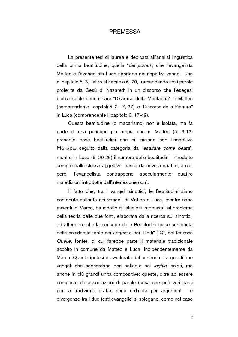 Anteprima della tesi: La ''Beatitudine dei poveri'' in Matteo e Luca, Pagina 1