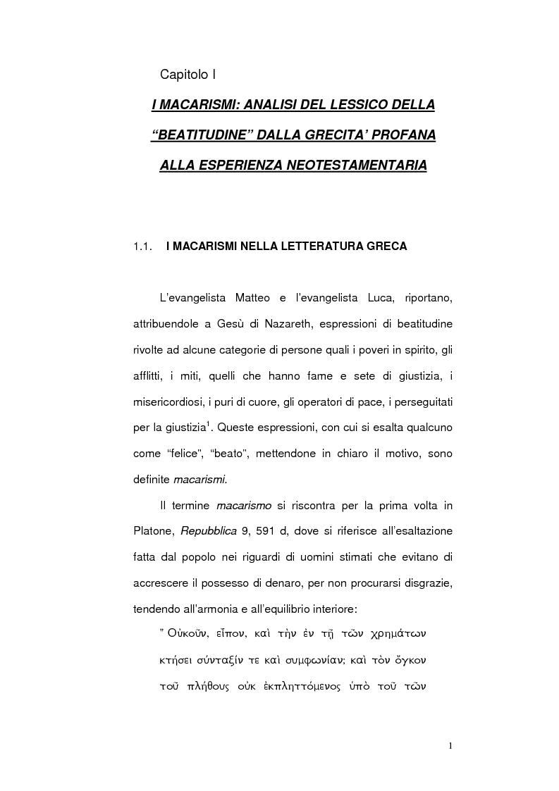 Anteprima della tesi: La ''Beatitudine dei poveri'' in Matteo e Luca, Pagina 3