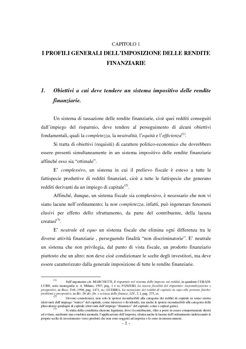 Anteprima della tesi: Il regime di tassazione delle rendite finanziarie, Pagina 1