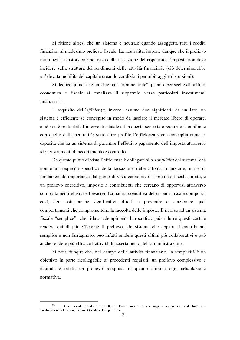 Anteprima della tesi: Il regime di tassazione delle rendite finanziarie, Pagina 2