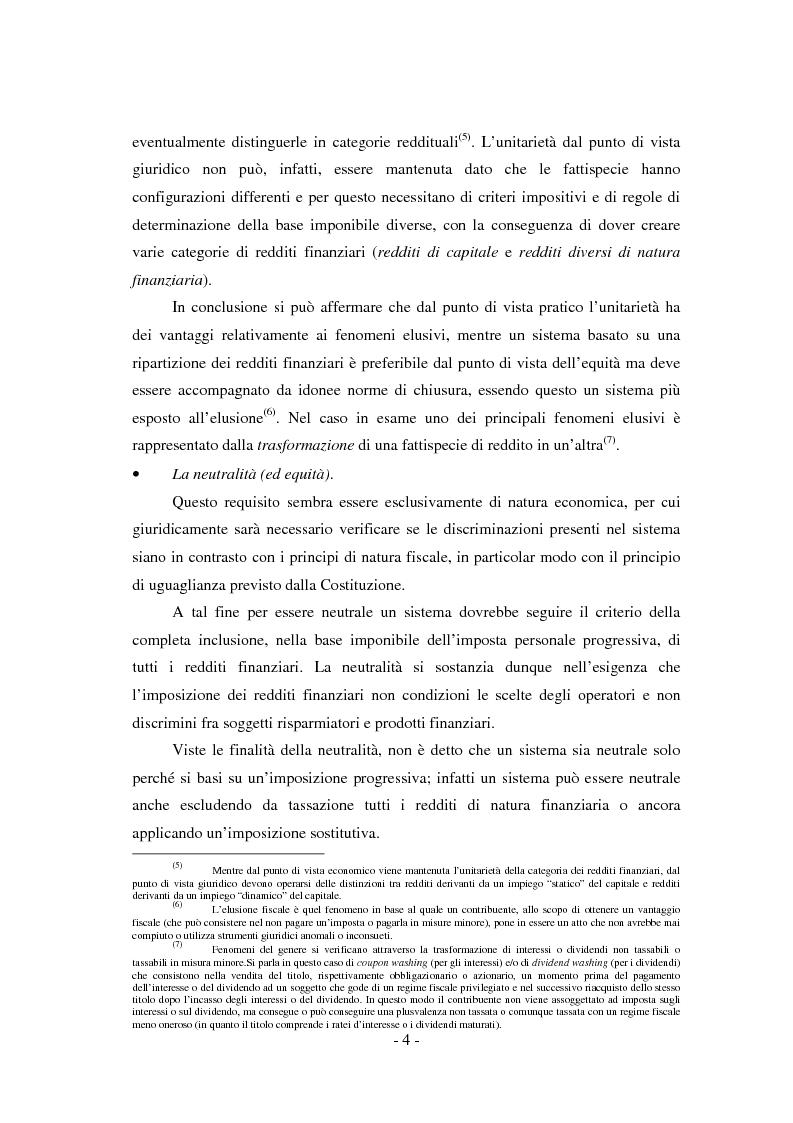 Anteprima della tesi: Il regime di tassazione delle rendite finanziarie, Pagina 4