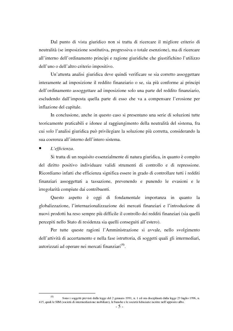 Anteprima della tesi: Il regime di tassazione delle rendite finanziarie, Pagina 5