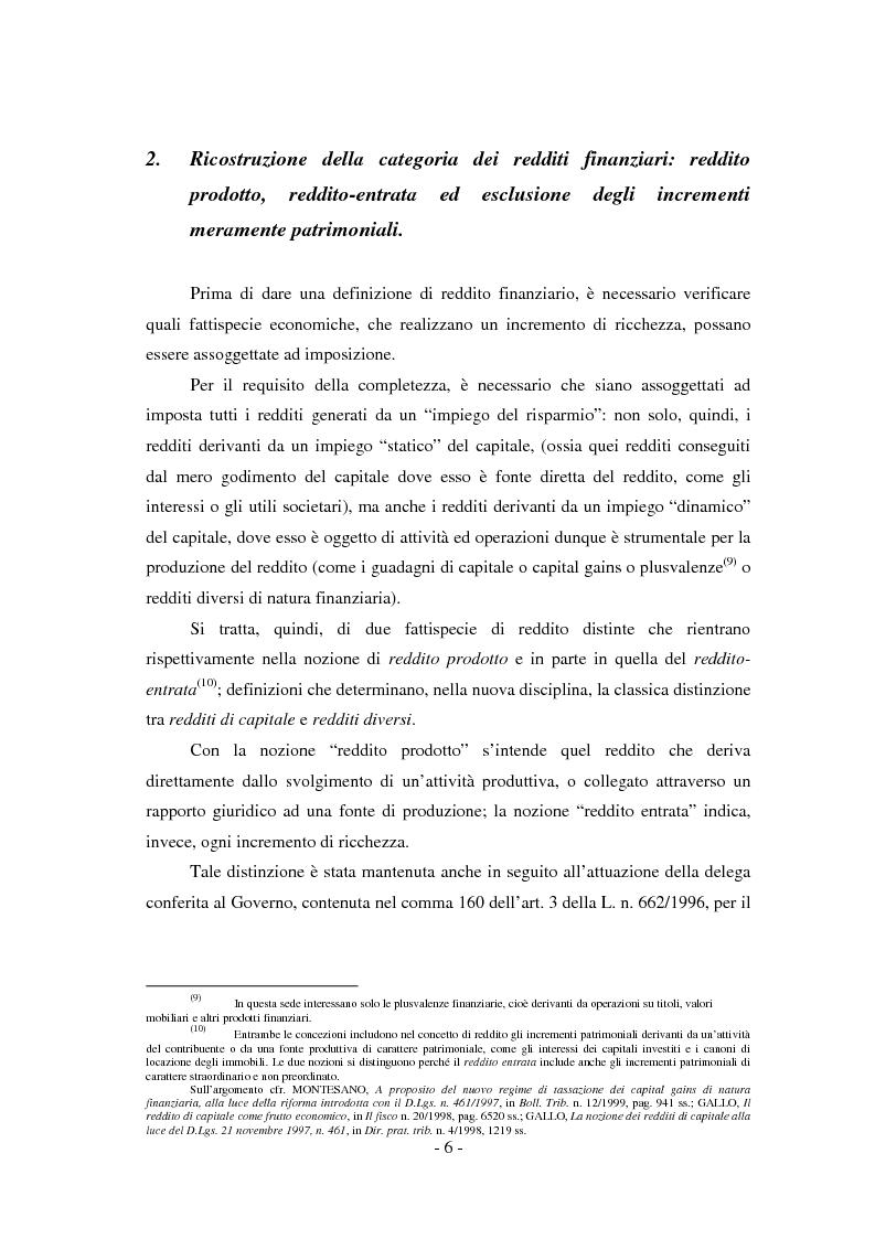 Anteprima della tesi: Il regime di tassazione delle rendite finanziarie, Pagina 6