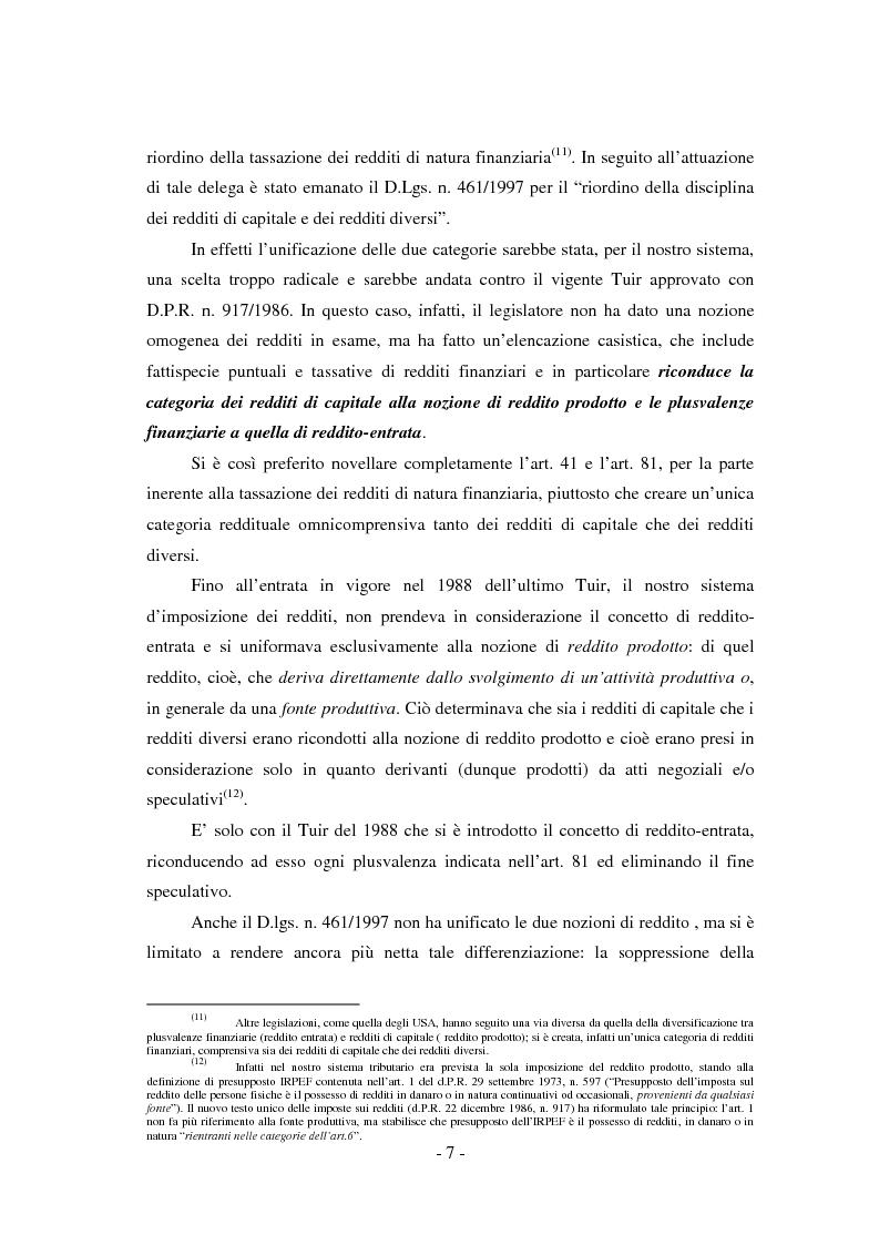 Anteprima della tesi: Il regime di tassazione delle rendite finanziarie, Pagina 7