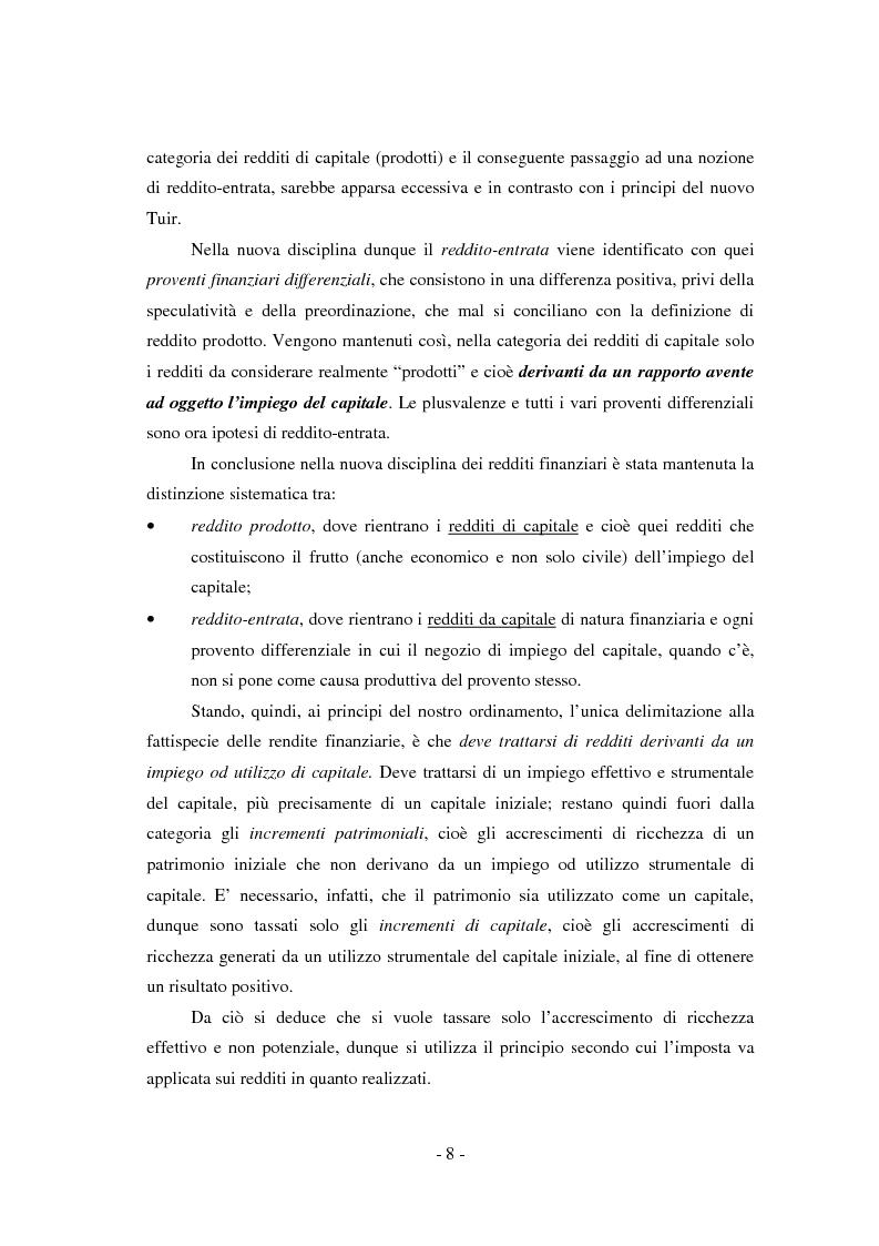 Anteprima della tesi: Il regime di tassazione delle rendite finanziarie, Pagina 8