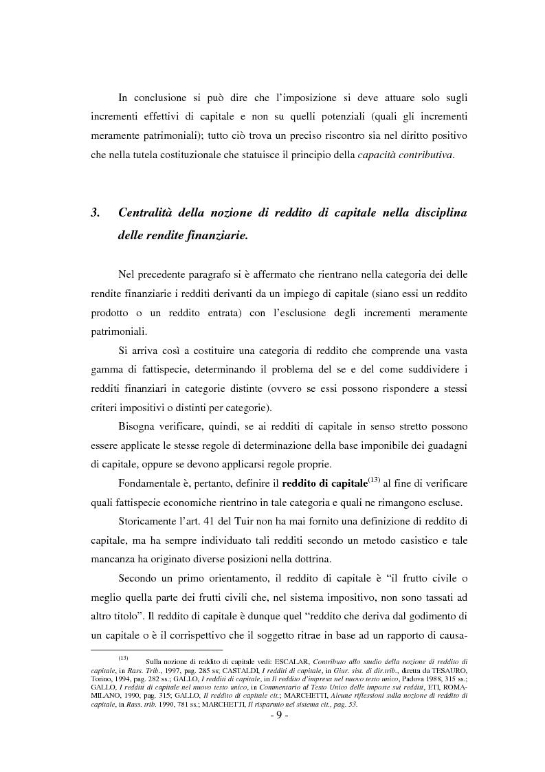 Anteprima della tesi: Il regime di tassazione delle rendite finanziarie, Pagina 9