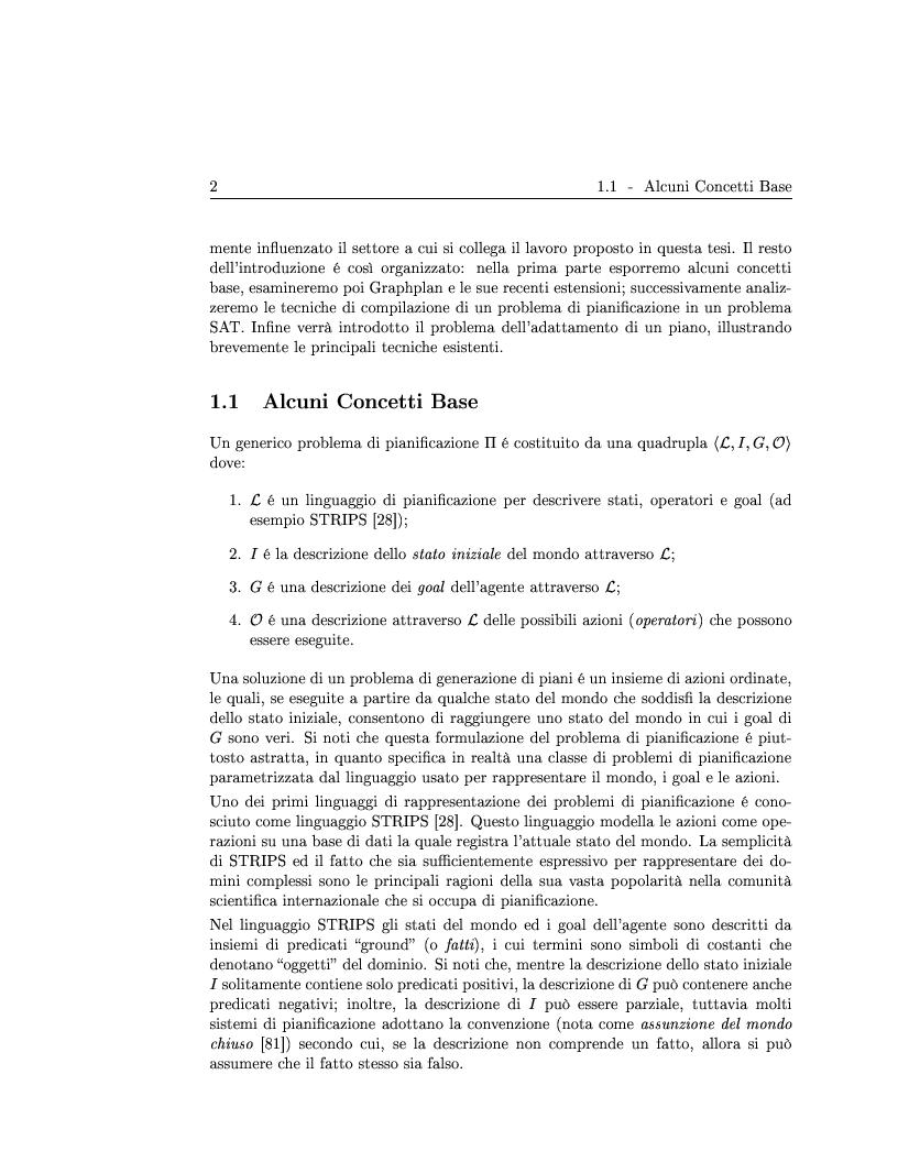 Anteprima della tesi: Generazione ed adattamento di piani attraverso grafi di pianificazione: sviluppo e sperimentazione di algoritmi basati su ricerca locale e backtracking, Pagina 2