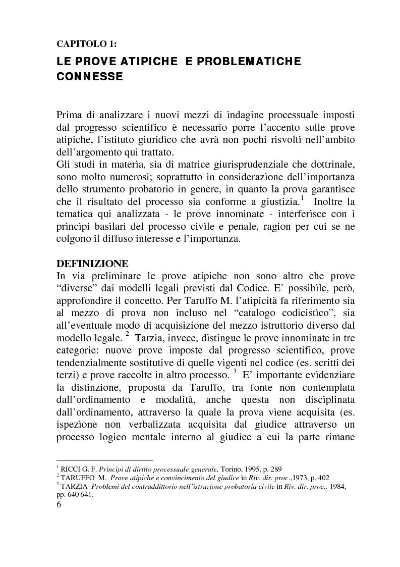 Anteprima della tesi: Ammissibilità ed efficacia probatoria dei nuovi mezzi di indagine processuale imposti dal progresso scientifico, Pagina 1