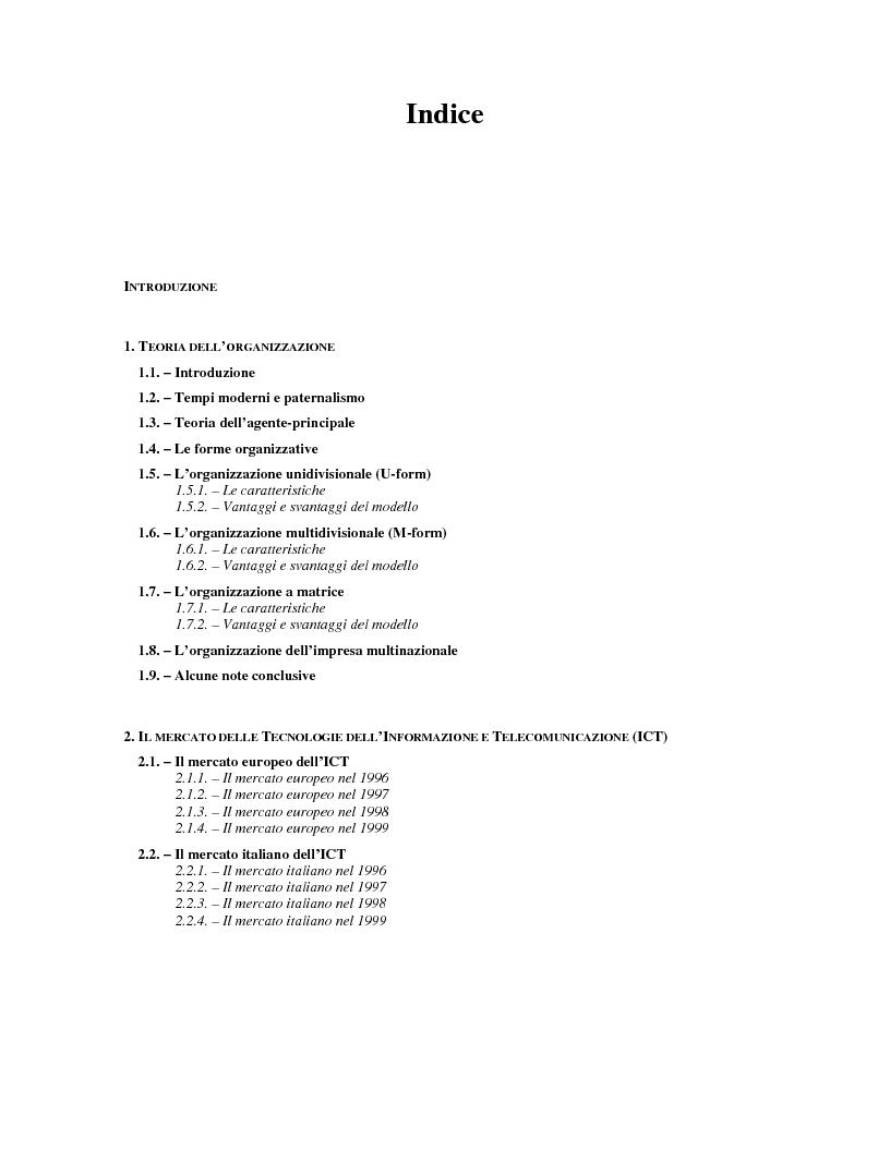 Indice della tesi: I mutamenti strutturali nell'organizzazione dell'impresa. Il caso Olivetti Lexikon, Pagina 1