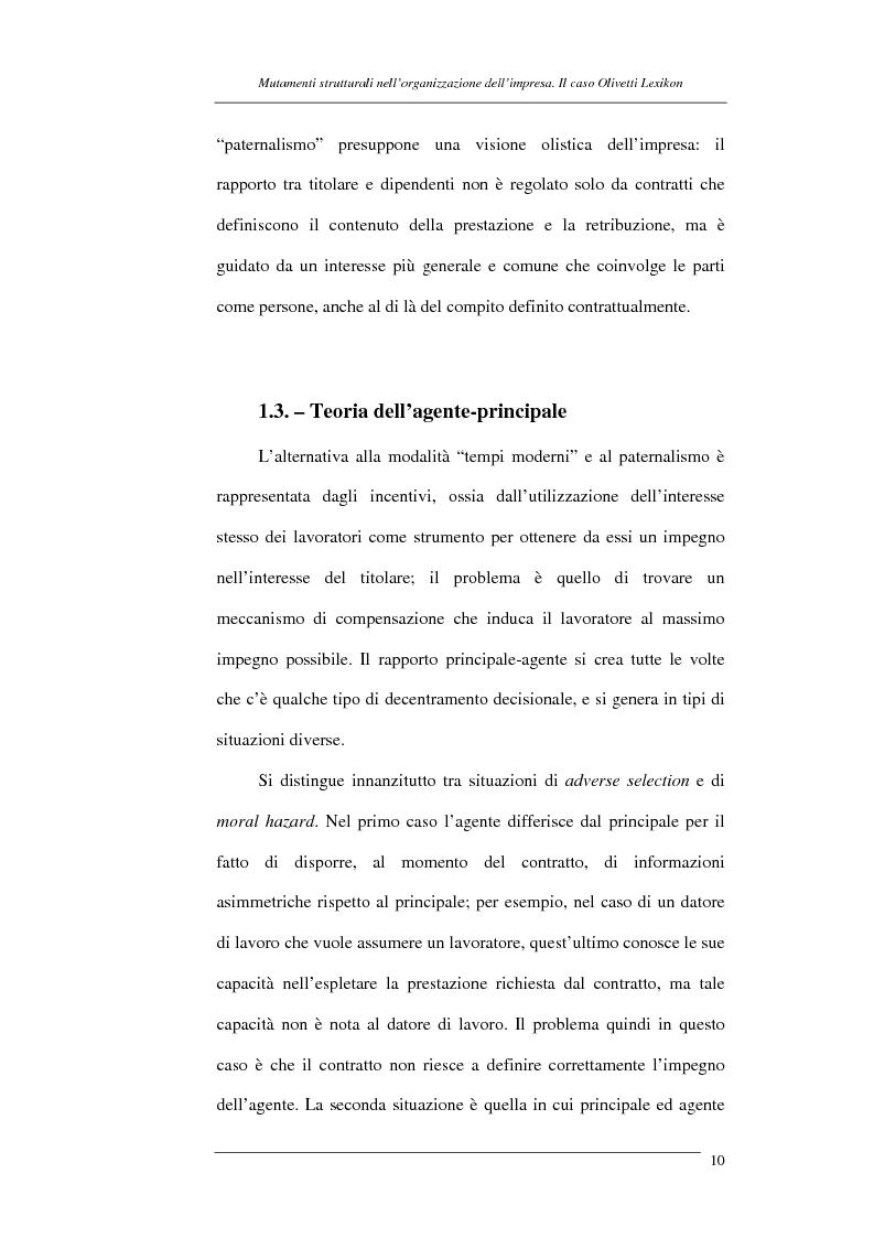 Anteprima della tesi: I mutamenti strutturali nell'organizzazione dell'impresa. Il caso Olivetti Lexikon, Pagina 10