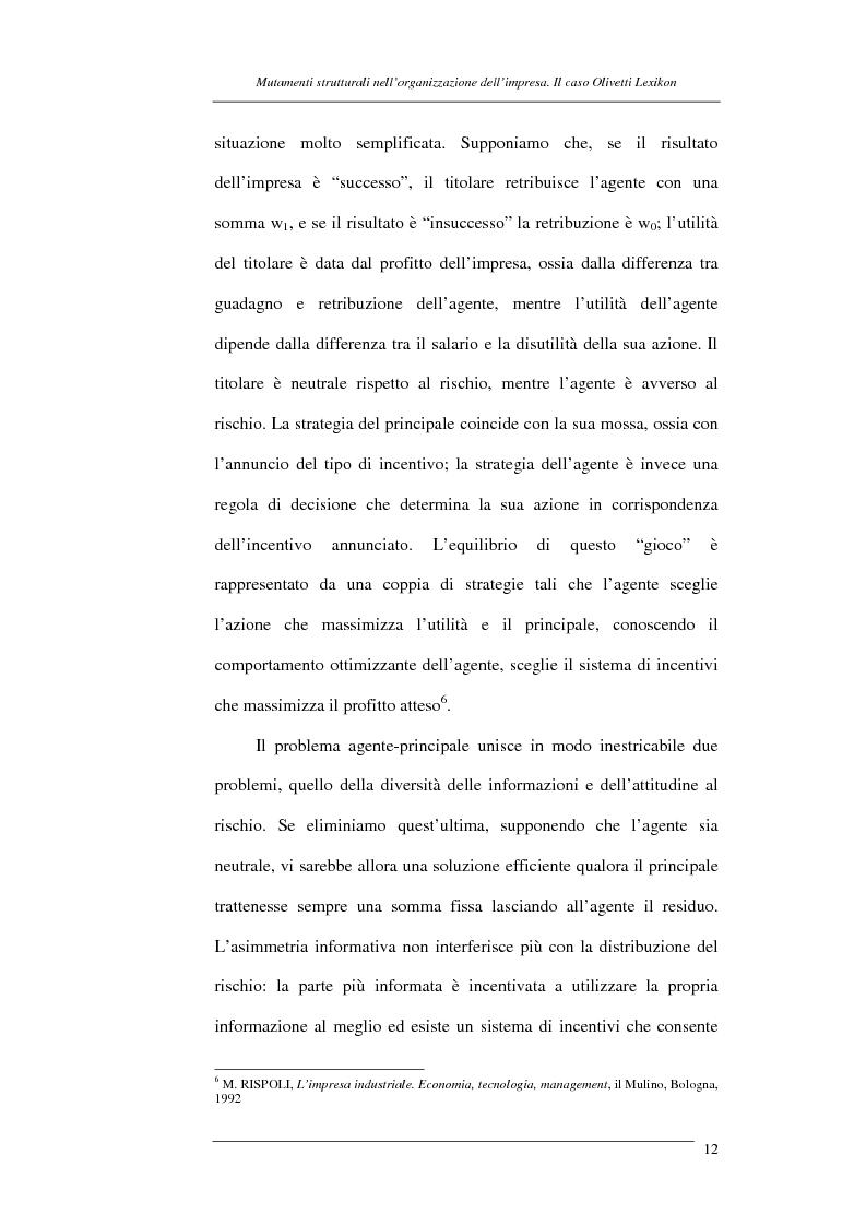 Anteprima della tesi: I mutamenti strutturali nell'organizzazione dell'impresa. Il caso Olivetti Lexikon, Pagina 12