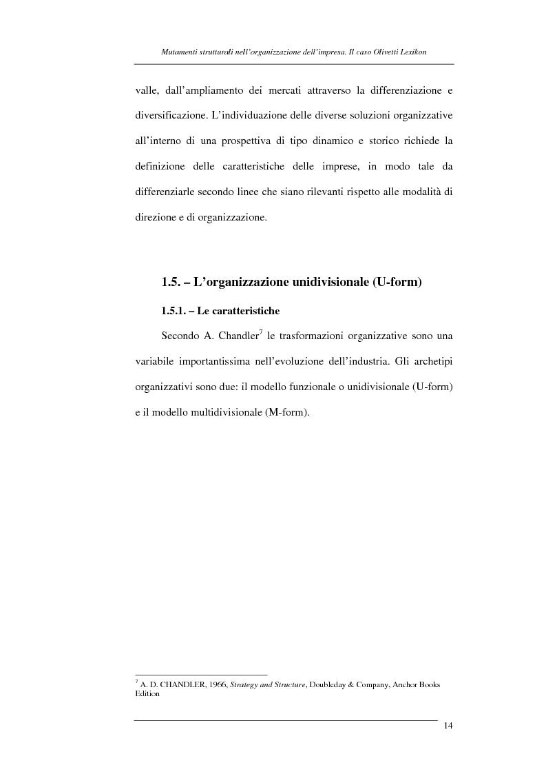 Anteprima della tesi: I mutamenti strutturali nell'organizzazione dell'impresa. Il caso Olivetti Lexikon, Pagina 14