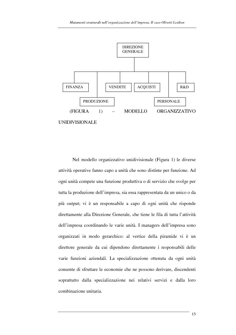 Anteprima della tesi: I mutamenti strutturali nell'organizzazione dell'impresa. Il caso Olivetti Lexikon, Pagina 15