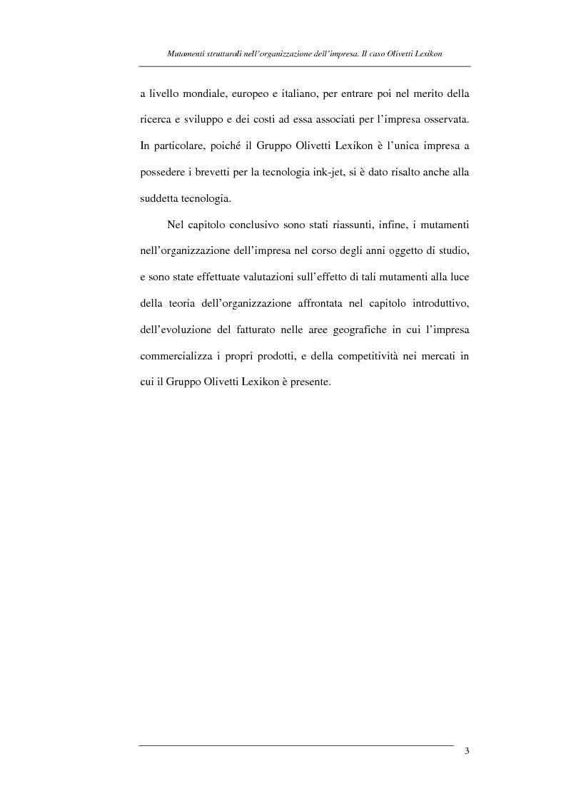 Anteprima della tesi: I mutamenti strutturali nell'organizzazione dell'impresa. Il caso Olivetti Lexikon, Pagina 3