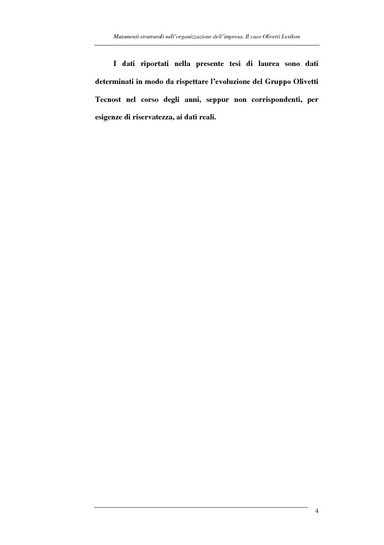 Anteprima della tesi: I mutamenti strutturali nell'organizzazione dell'impresa. Il caso Olivetti Lexikon, Pagina 4