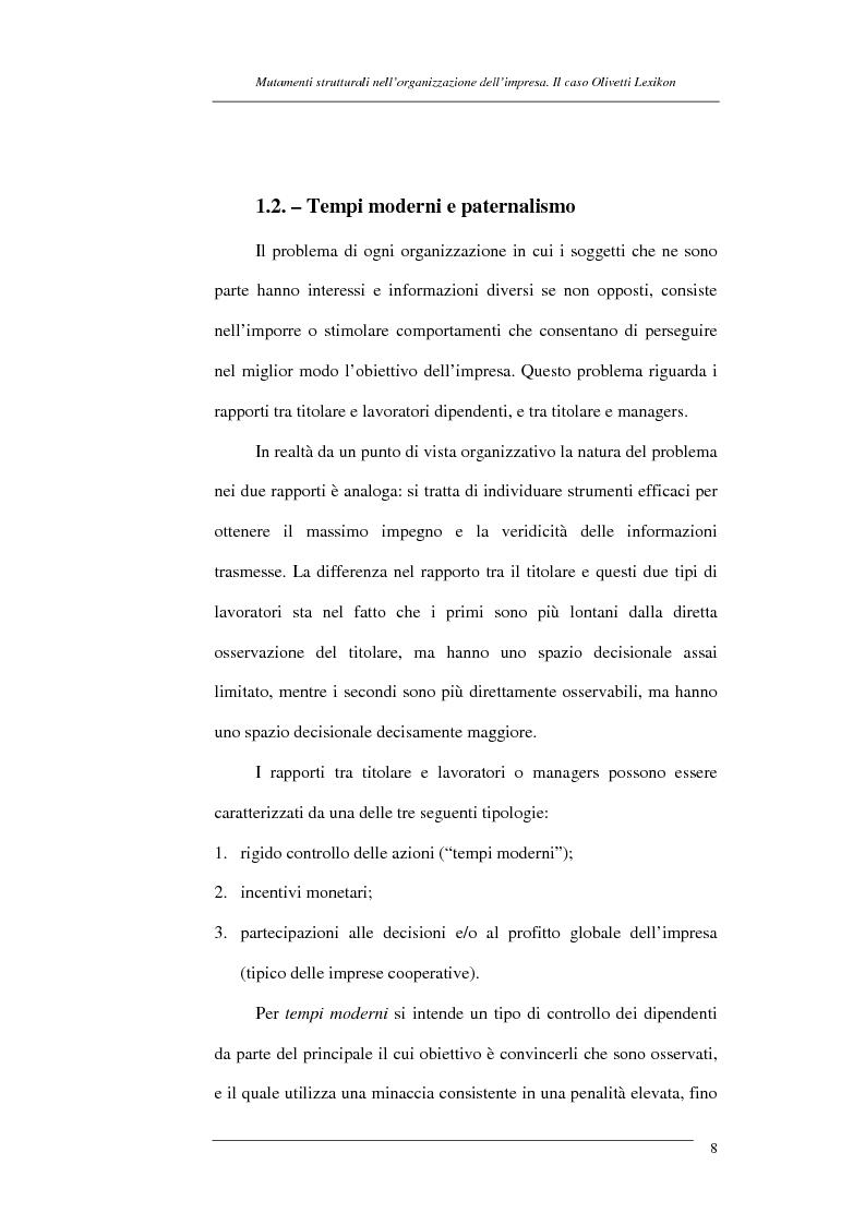Anteprima della tesi: I mutamenti strutturali nell'organizzazione dell'impresa. Il caso Olivetti Lexikon, Pagina 8