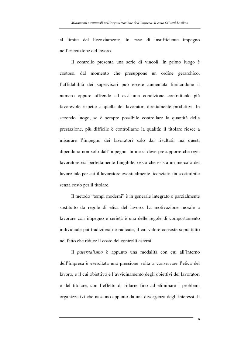 Anteprima della tesi: I mutamenti strutturali nell'organizzazione dell'impresa. Il caso Olivetti Lexikon, Pagina 9