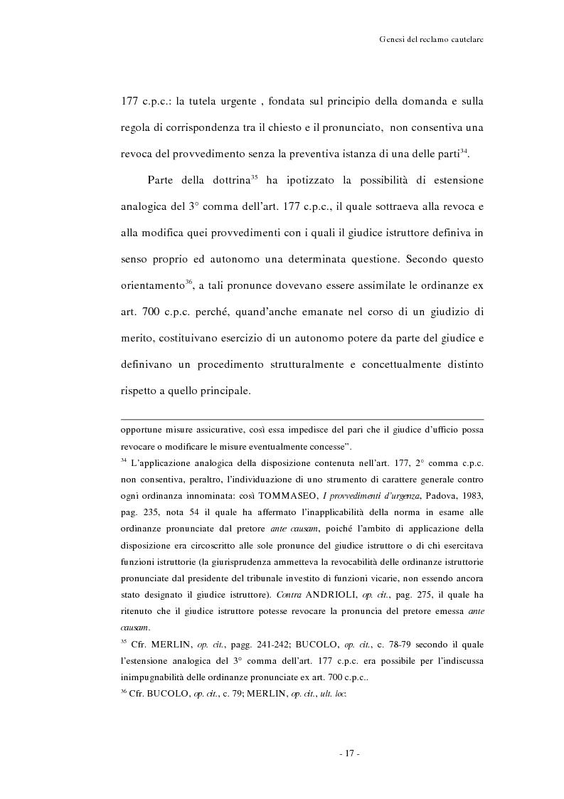 Anteprima della tesi: Il reclamo cautelare, Pagina 14