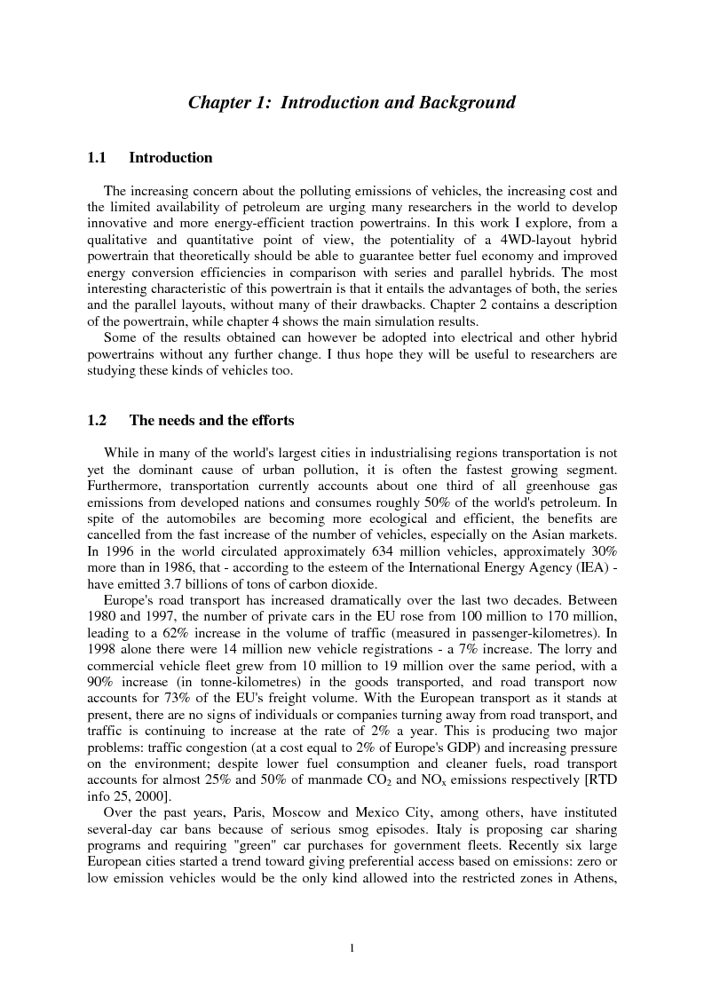 Anteprima della tesi: The Energy Conversions in a Hybrid-Propulsion Vehicle with Planetary Gear Set, Pagina 1