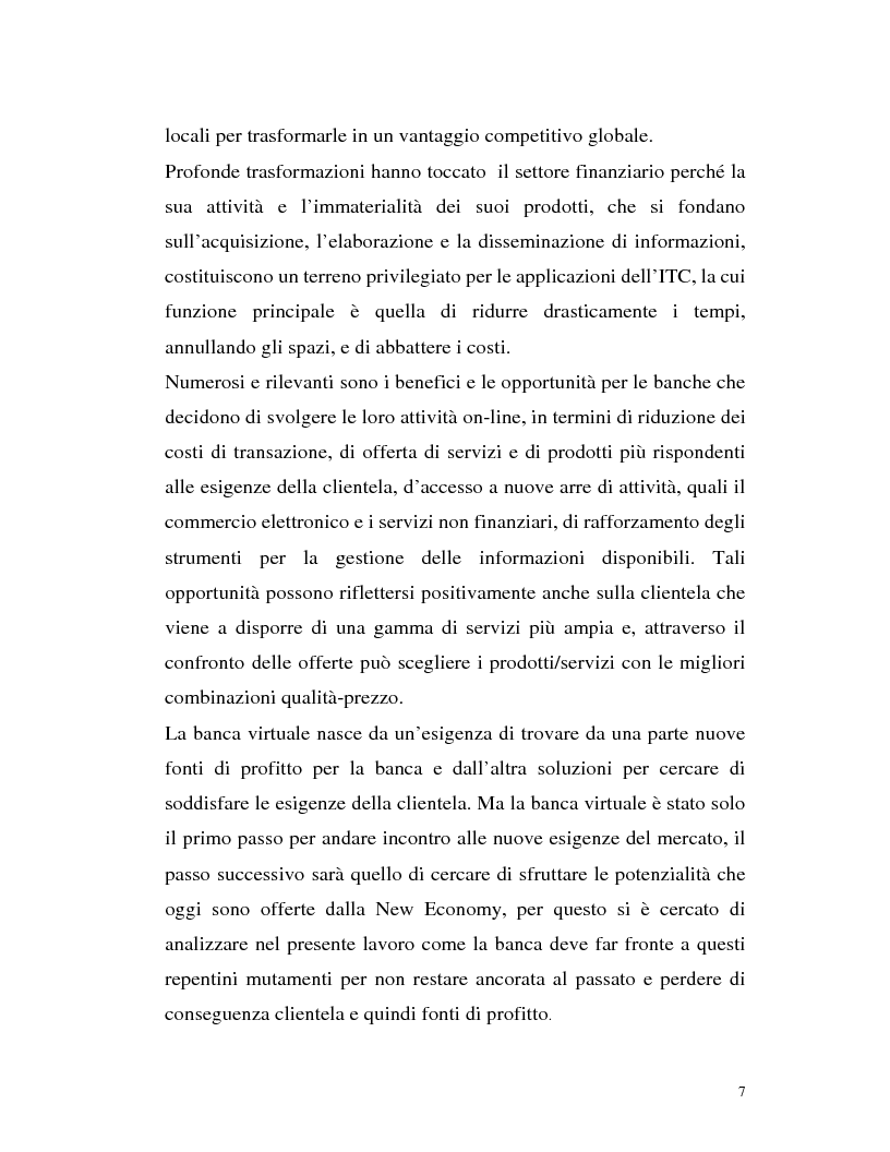 Anteprima della tesi: Banca virtuale e new economy: il caso MPSnet, Pagina 4
