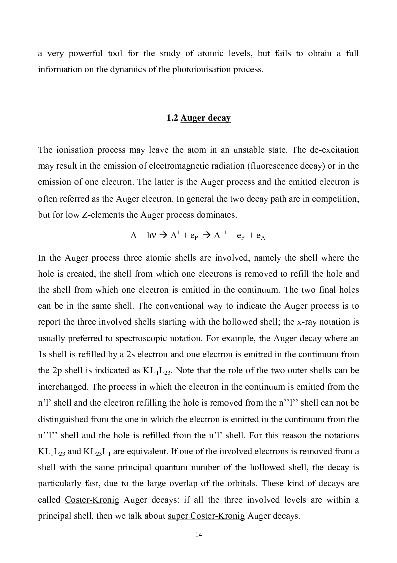 Anteprima della tesi: Study of Electronic Correlation in Noble Gas Atoms by means of Two Electron Photoemission Spectroscopies, Pagina 14