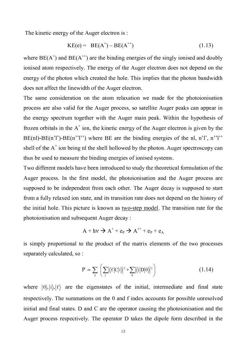Anteprima della tesi: Study of Electronic Correlation in Noble Gas Atoms by means of Two Electron Photoemission Spectroscopies, Pagina 15