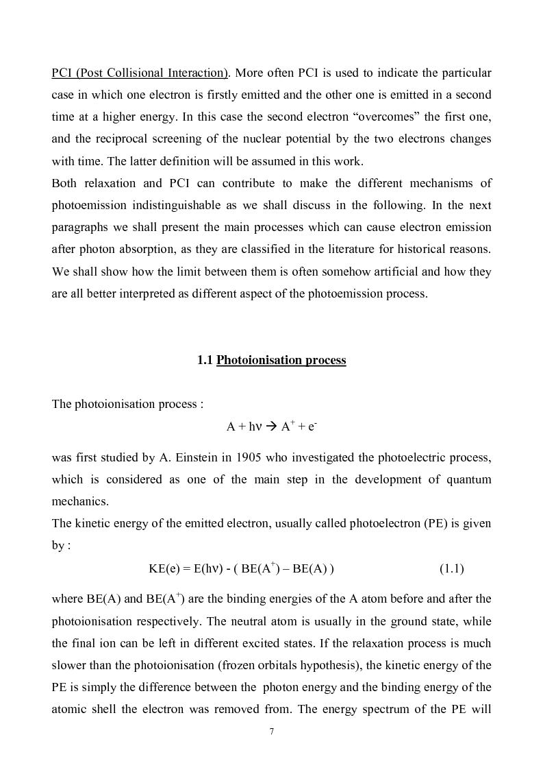 Anteprima della tesi: Study of Electronic Correlation in Noble Gas Atoms by means of Two Electron Photoemission Spectroscopies, Pagina 7