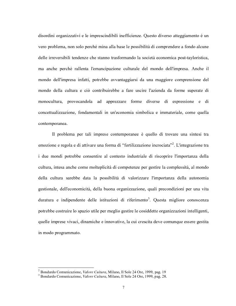 Anteprima della tesi: Le relazioni virtuose tra impresa & cultura: il caso Mandarina Duck, Pagina 7