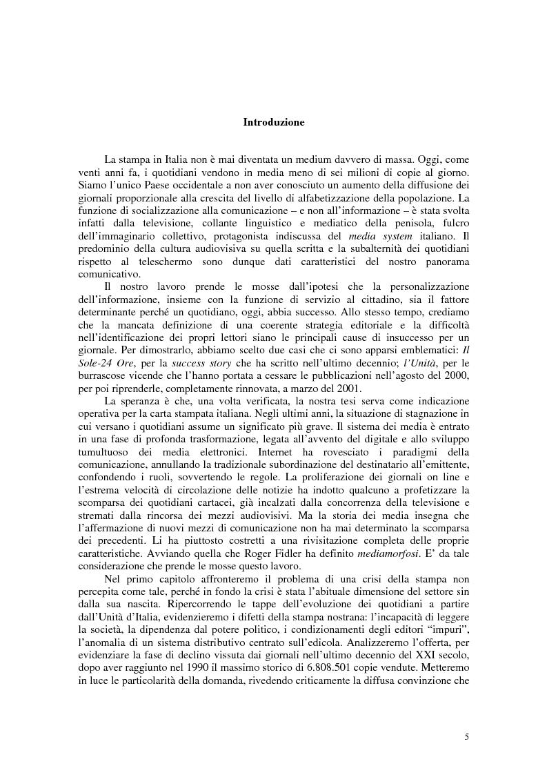 Anteprima della tesi: Manuale di sopravvivenza quotidiana. Giornali in Italia tra successo e insuccesso, Pagina 1