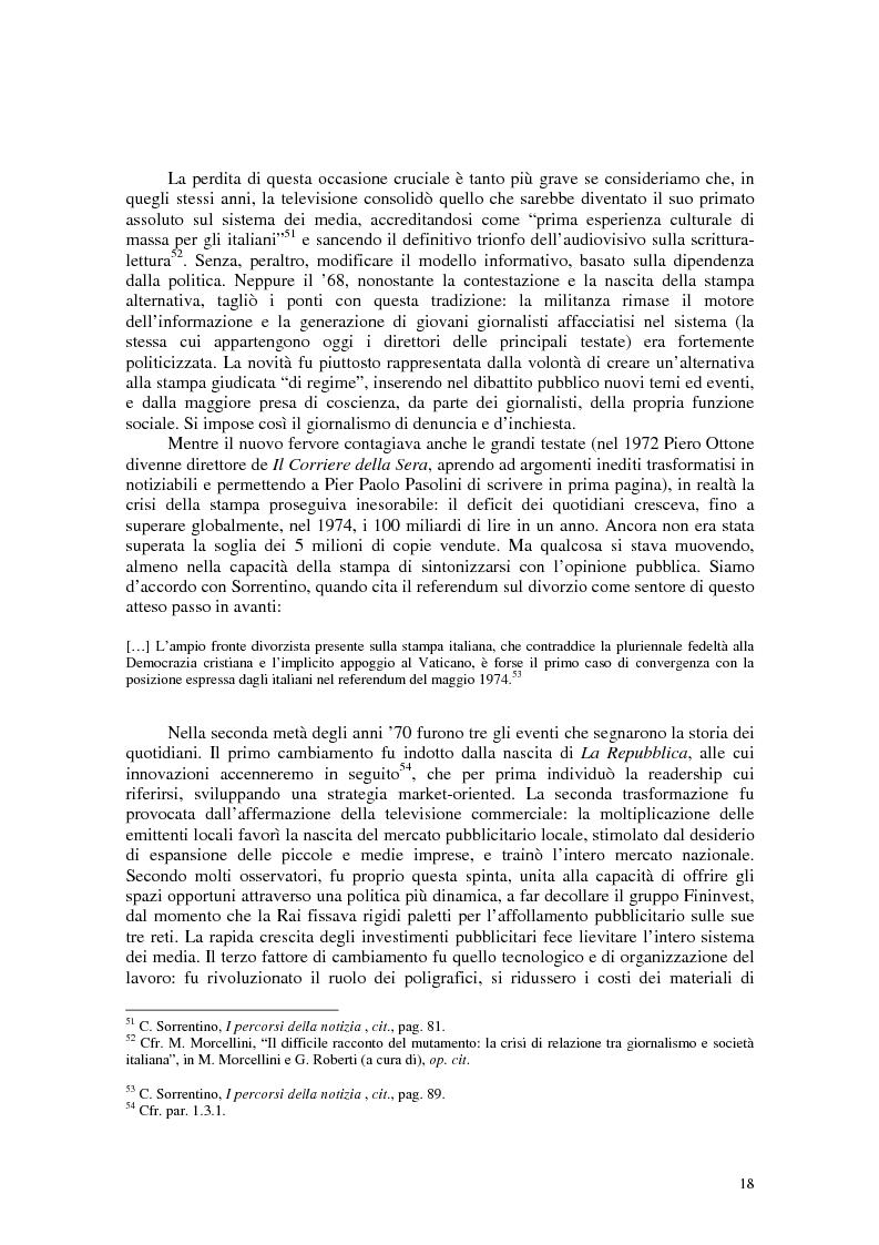 Anteprima della tesi: Manuale di sopravvivenza quotidiana. Giornali in Italia tra successo e insuccesso, Pagina 14