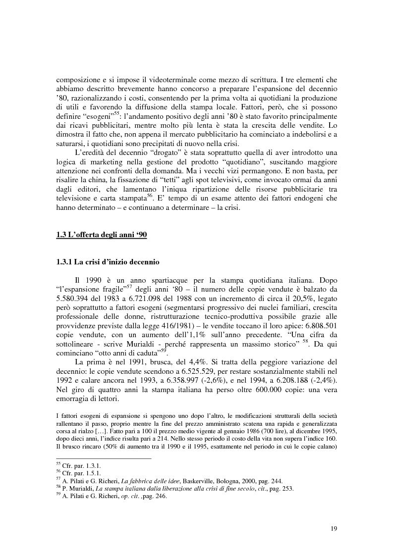 Anteprima della tesi: Manuale di sopravvivenza quotidiana. Giornali in Italia tra successo e insuccesso, Pagina 15