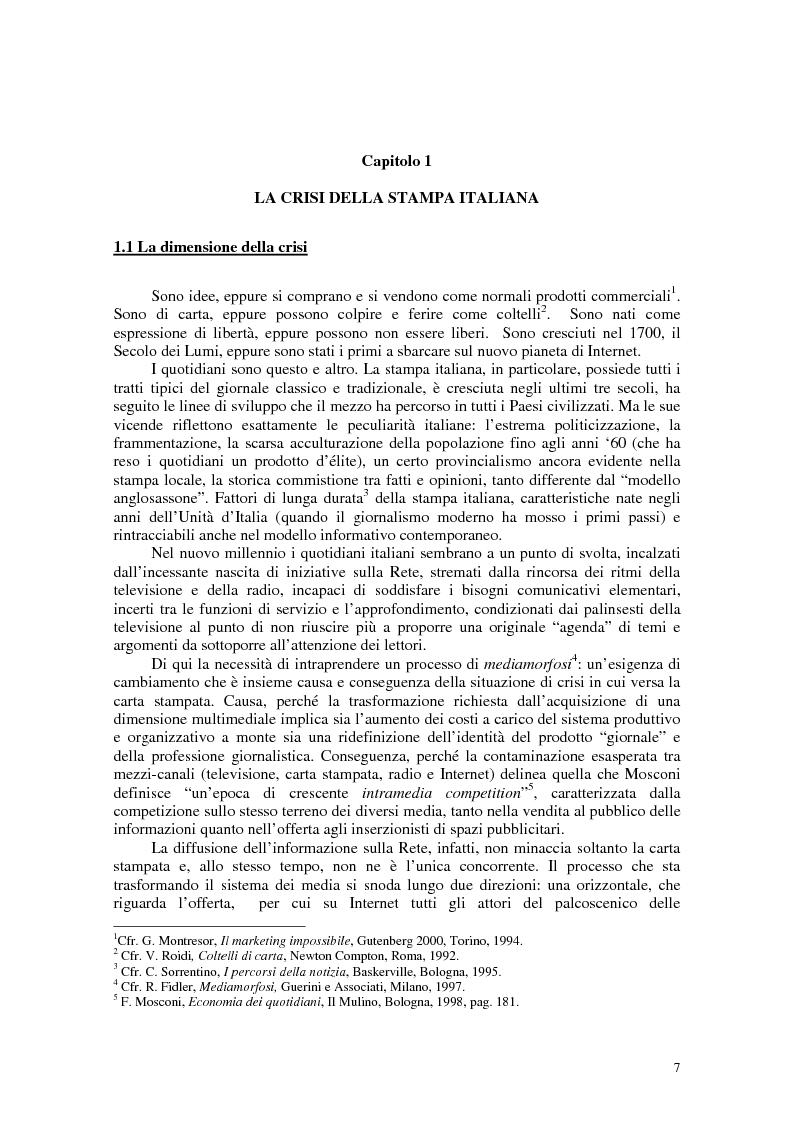Anteprima della tesi: Manuale di sopravvivenza quotidiana. Giornali in Italia tra successo e insuccesso, Pagina 3