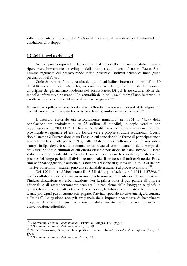 Anteprima della tesi: Manuale di sopravvivenza quotidiana. Giornali in Italia tra successo e insuccesso, Pagina 6