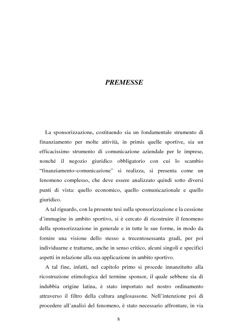 Anteprima della tesi: Sponsorizzazione e cessione d'immagine in ambito sportivo. Aspetti civilistici e profili di comparazione, Pagina 1