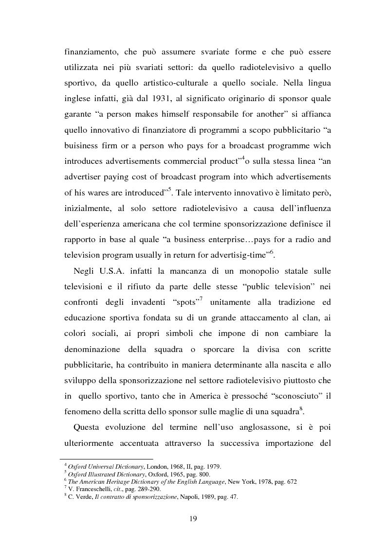 Anteprima della tesi: Sponsorizzazione e cessione d'immagine in ambito sportivo. Aspetti civilistici e profili di comparazione, Pagina 12