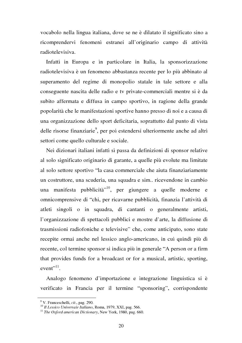 Anteprima della tesi: Sponsorizzazione e cessione d'immagine in ambito sportivo. Aspetti civilistici e profili di comparazione, Pagina 13