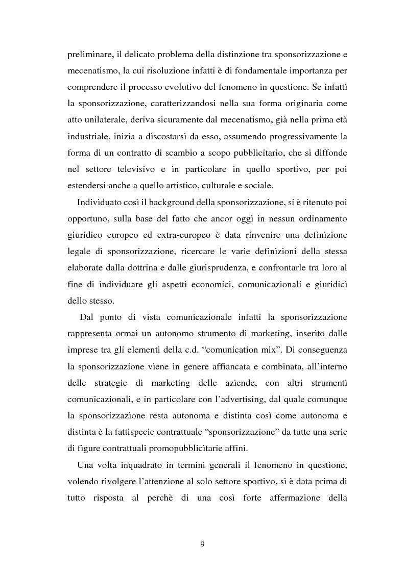 Anteprima della tesi: Sponsorizzazione e cessione d'immagine in ambito sportivo. Aspetti civilistici e profili di comparazione, Pagina 2