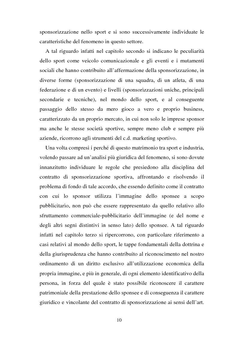Anteprima della tesi: Sponsorizzazione e cessione d'immagine in ambito sportivo. Aspetti civilistici e profili di comparazione, Pagina 3