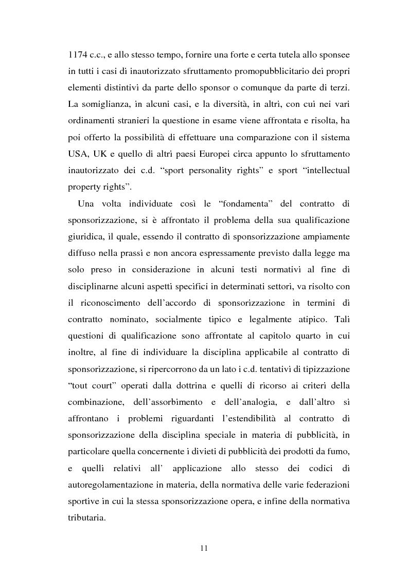 Anteprima della tesi: Sponsorizzazione e cessione d'immagine in ambito sportivo. Aspetti civilistici e profili di comparazione, Pagina 4