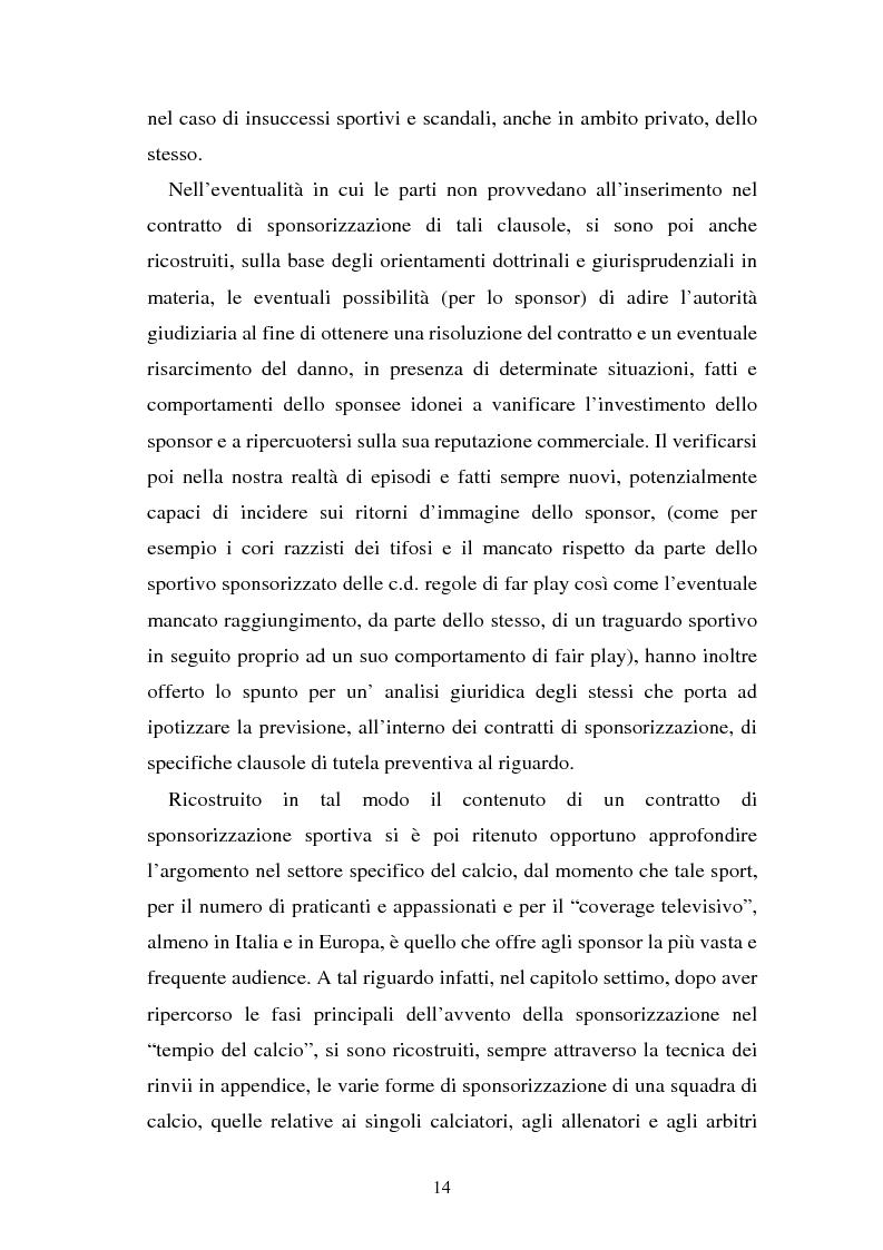 Anteprima della tesi: Sponsorizzazione e cessione d'immagine in ambito sportivo. Aspetti civilistici e profili di comparazione, Pagina 7