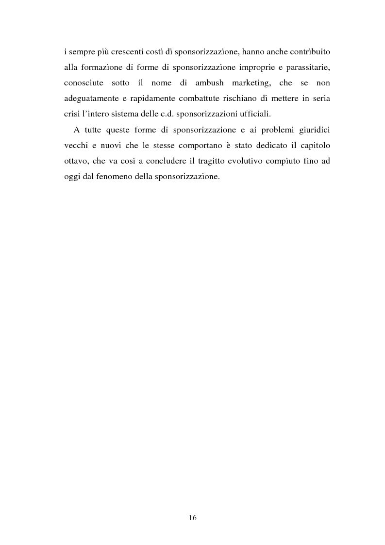 Anteprima della tesi: Sponsorizzazione e cessione d'immagine in ambito sportivo. Aspetti civilistici e profili di comparazione, Pagina 9