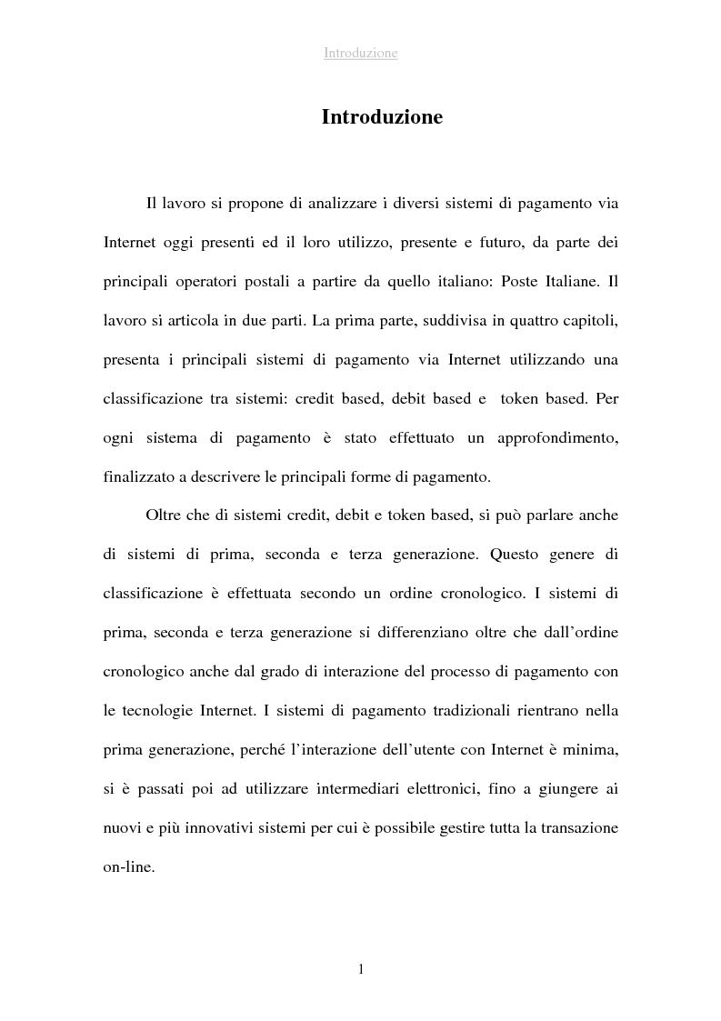 Anteprima della tesi: I sistemi di pagamento via Internet: il ruolo delle poste, Pagina 1