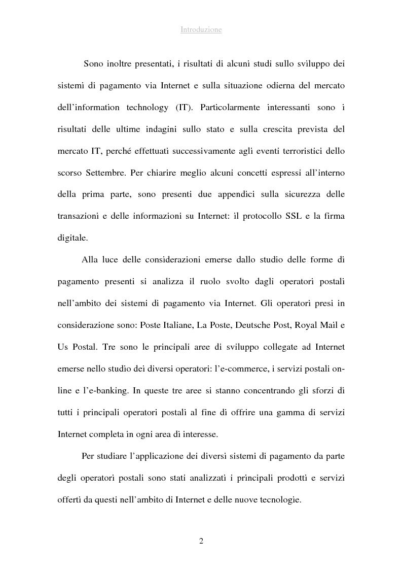 Anteprima della tesi: I sistemi di pagamento via Internet: il ruolo delle poste, Pagina 2