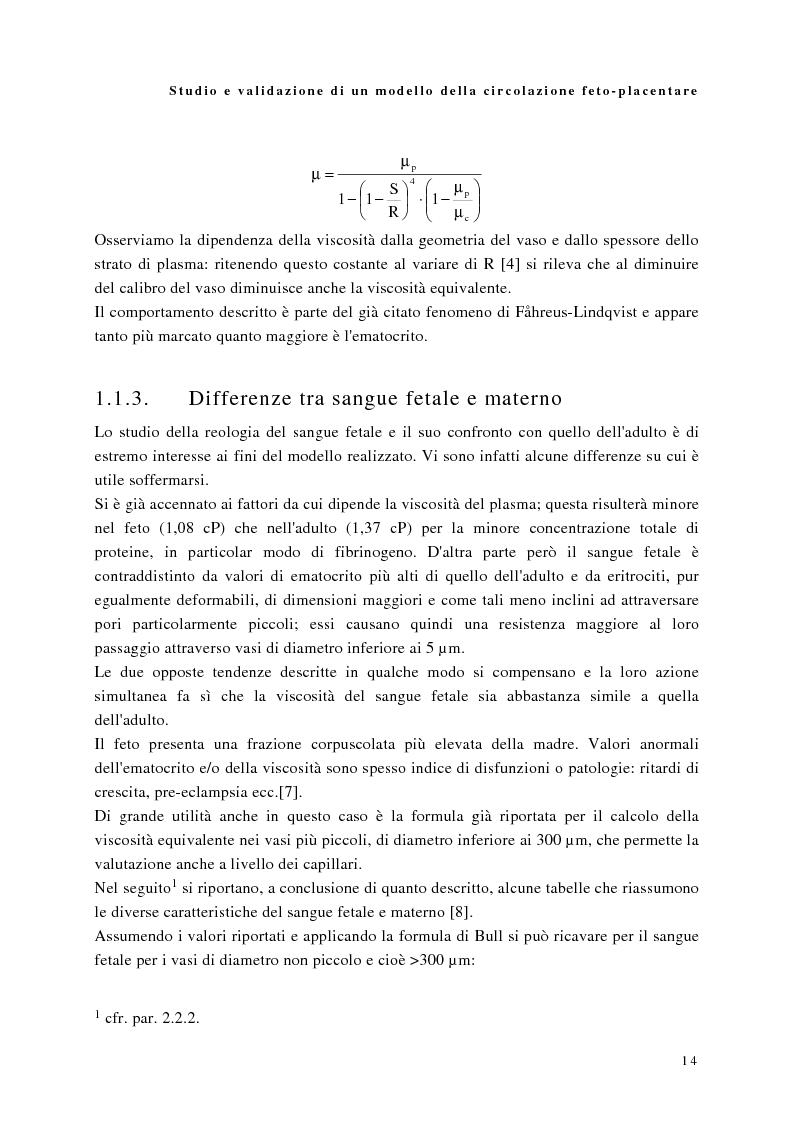 Anteprima della tesi: Studio e validazione di un modello di circolazione fetoplacentare, Pagina 10