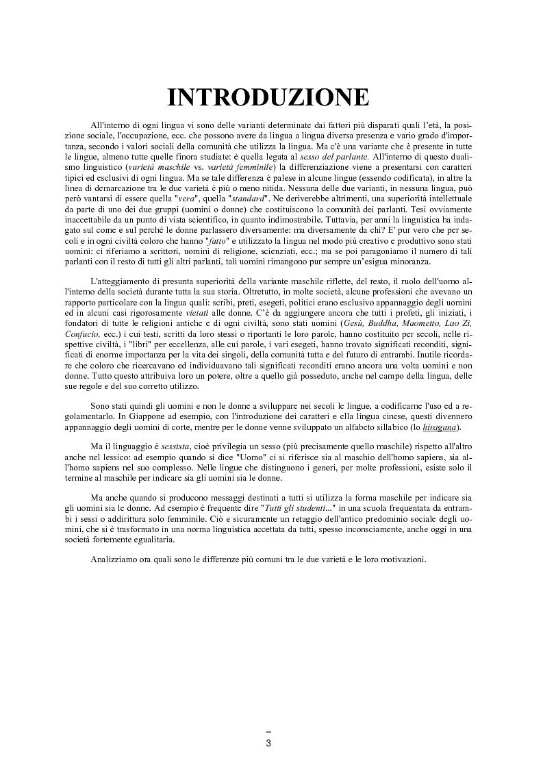 Anteprima della tesi: Il linguaggio maschile nella lingua giapponese moderna, Pagina 2