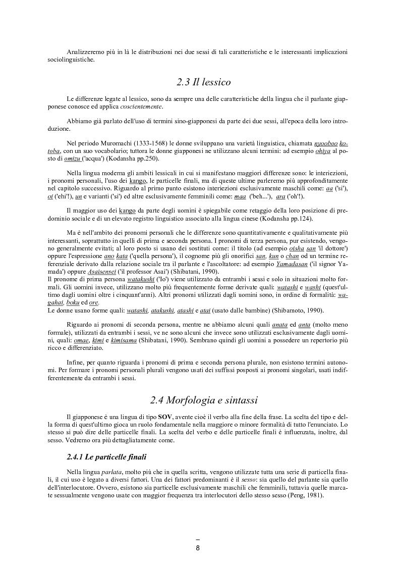 Anteprima della tesi: Il linguaggio maschile nella lingua giapponese moderna, Pagina 7