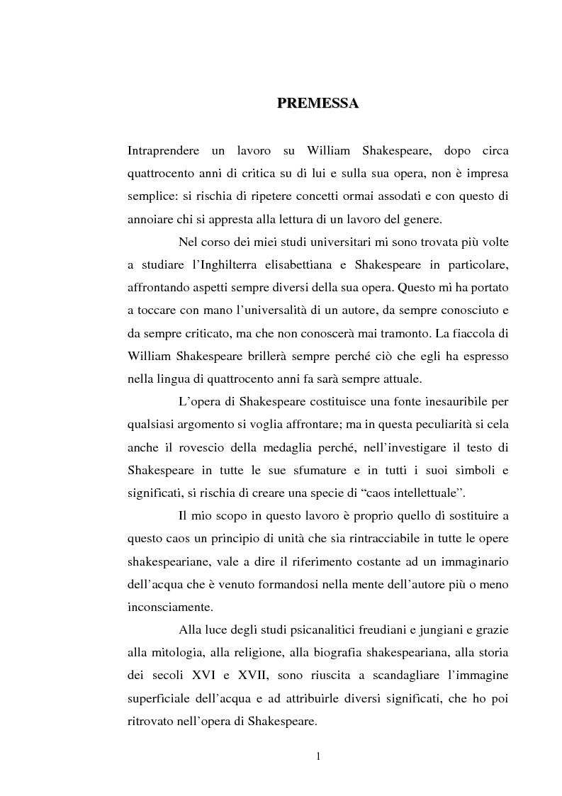 Anteprima della tesi: Le immagini dell'acqua nel teatro di William Shakespeare, Pagina 1